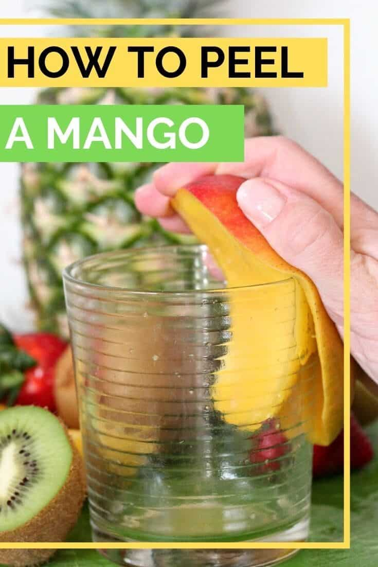 How to Peel a Mango with a Glass is the easiest way to cut a mango. Use a glass to slide the mango skin away from the mango flesh and enjoy mango in no time! #mango #mangos #mangoes #howtocutamango #howtopeelamango #abakershouse