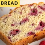 Pinterest image with text overlay for raspberry bread