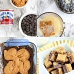 Collage of photos for steps to make fudge on Pinterest image