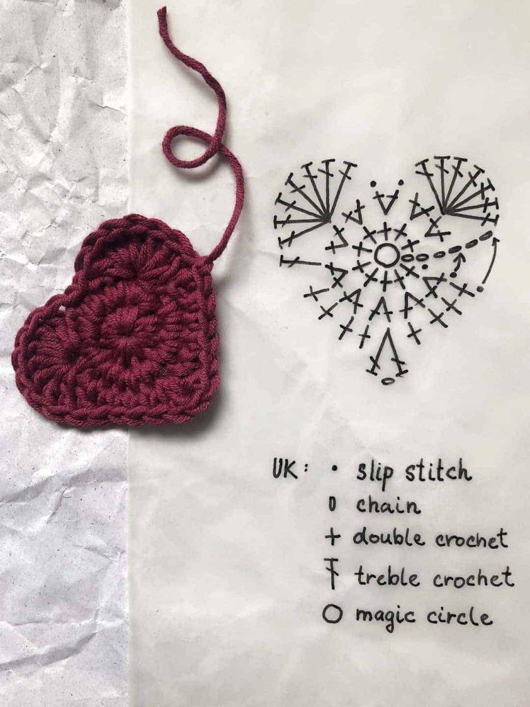 Crochet heart motif with a pattern