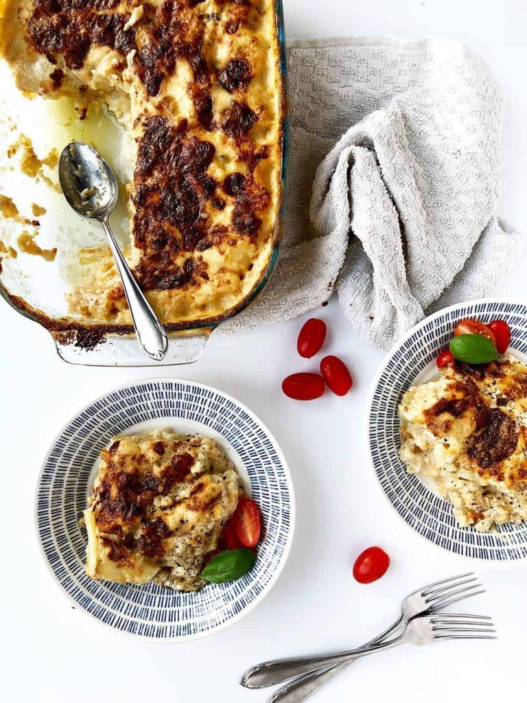 Creamy Potato Cauliflower Bake with White Sauce