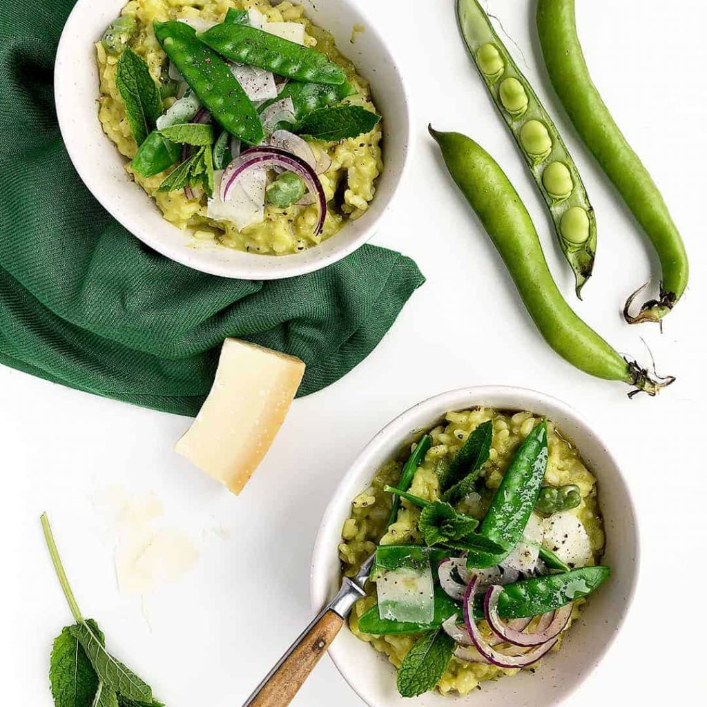 Creamy Vegetarian Snow Pea Risotto with Broad Beans