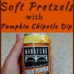 a pinterest image for pumpkin spice ale soft pretzels