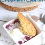 a pinterest image for blueberry cornbread cobbler