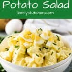 Potato salad photo used for Pinterst with green text overlay.