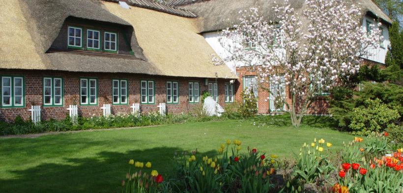 Bauernhaus mit Reetdach hinter einem blühenden Garten