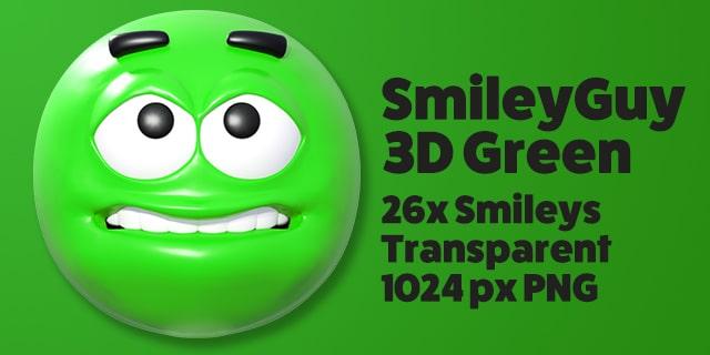 SmileyGuy Green 3D Smileys Emoticons
