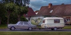 car towing a caravan