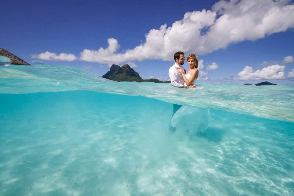 Lena & Austin trashing the dress in Bora Bora