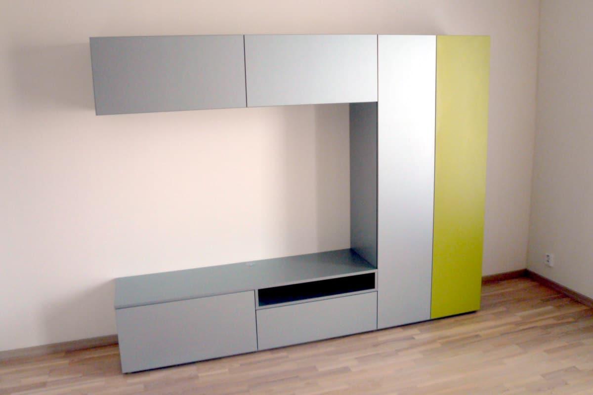 Obývací stěny s televizí, designové police 6
