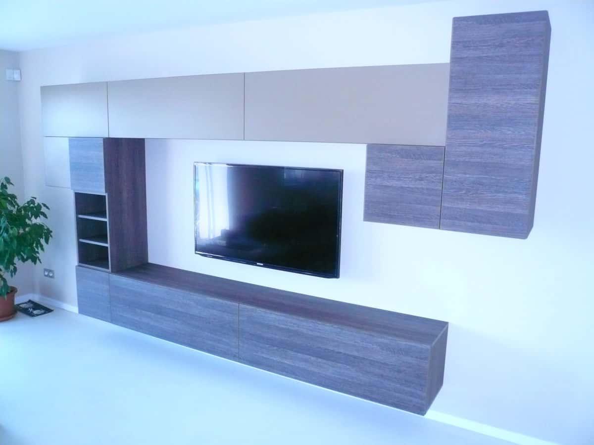 Obývací stěny s televizí, designové police 1
