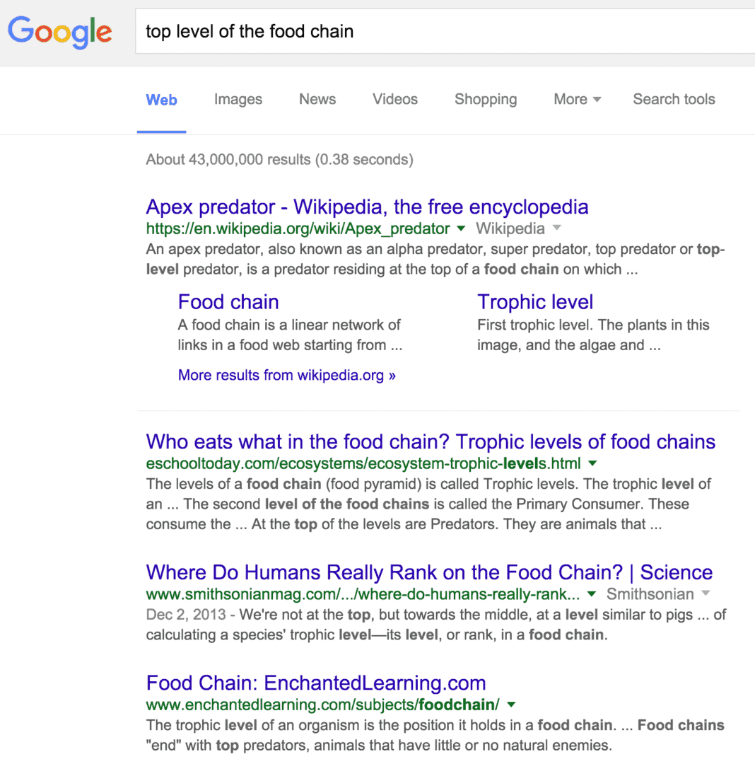 """Google search results for """"top level of the food chain"""""""