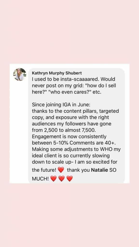 A screenshot of a message reviewing IGA