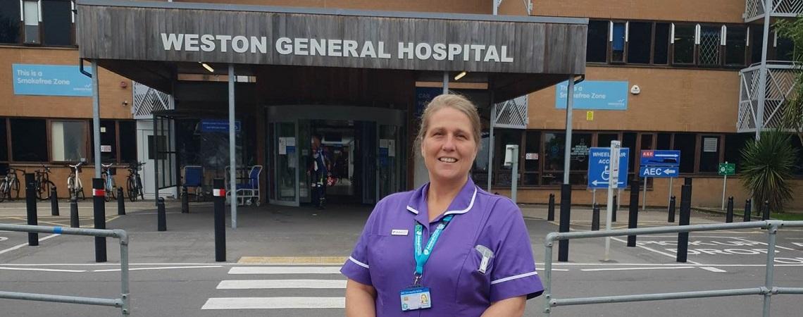Admiral Nurse outside hospital