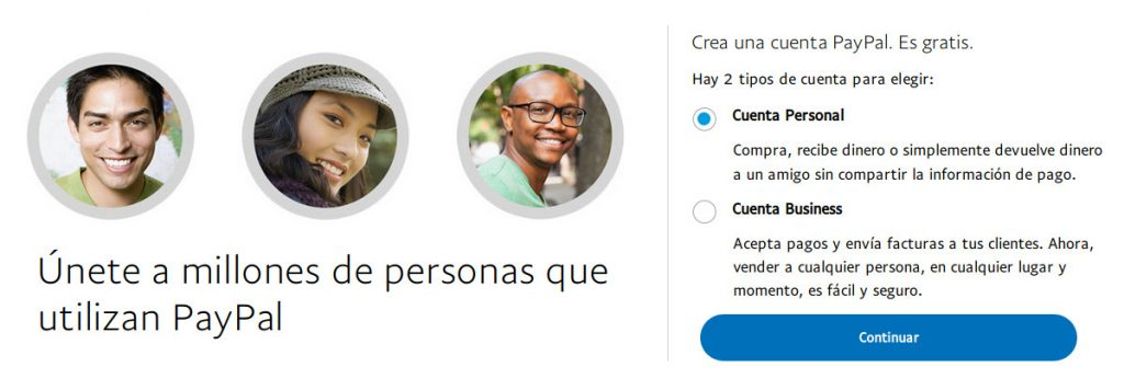 Crear cuenta PayPal personal o business
