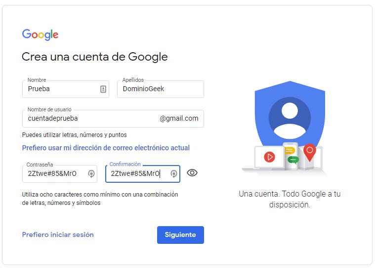 Crear correo de gmail nuevo