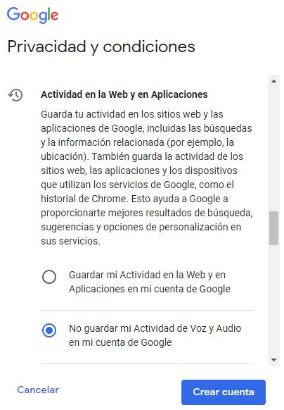 Privacidad y condiciones de Google