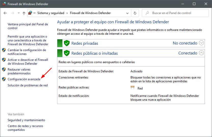 Configuración avanzada del Firewall de Windows