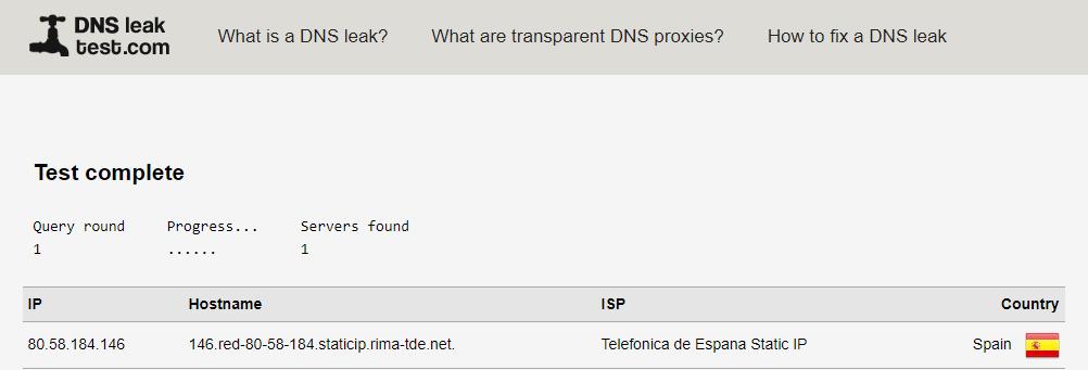 Comprobar DNS