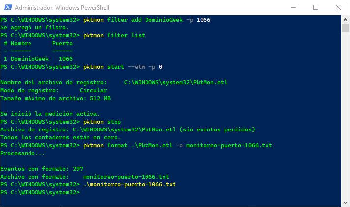 Exportar registro PktMon a un archivo de texto .txt