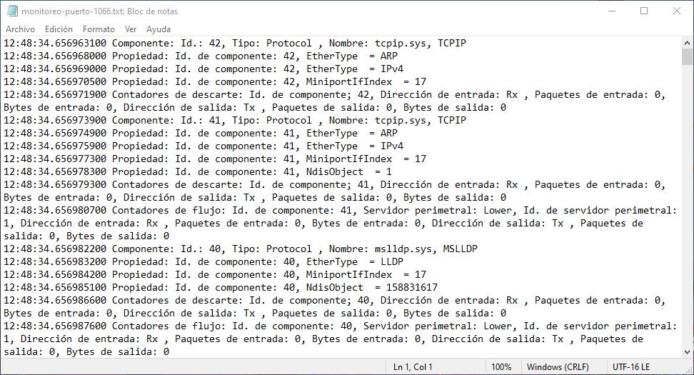 Registro PktMon en formato .txt