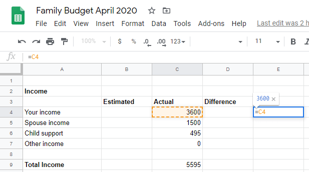 Google sheet calculating one percentage