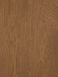 Deze lamelparket vloer is met een bruine tint geolied.