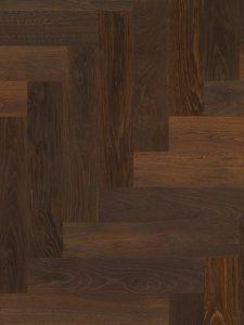 Eiken parketvloer donker geolied en zeer geschikt voor op vloerverwarming.