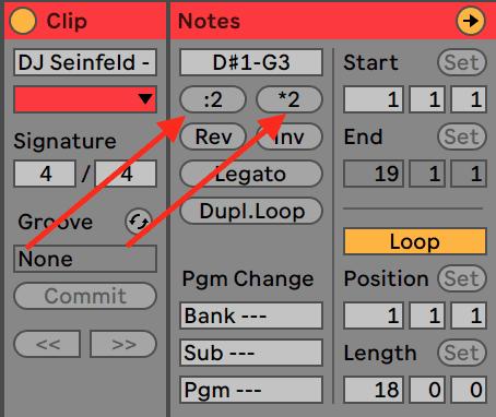 Ableton Live 10 Half and Double Length MIDI Editor