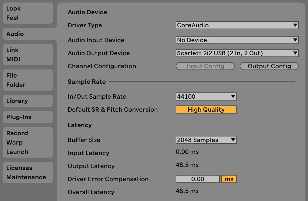 Ableton Live Audio Preferences