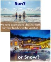 3 fun, offbeat destinations for christmas break or winter break. Includes sunny, snowy and city destinations that are great for kids and teens.
