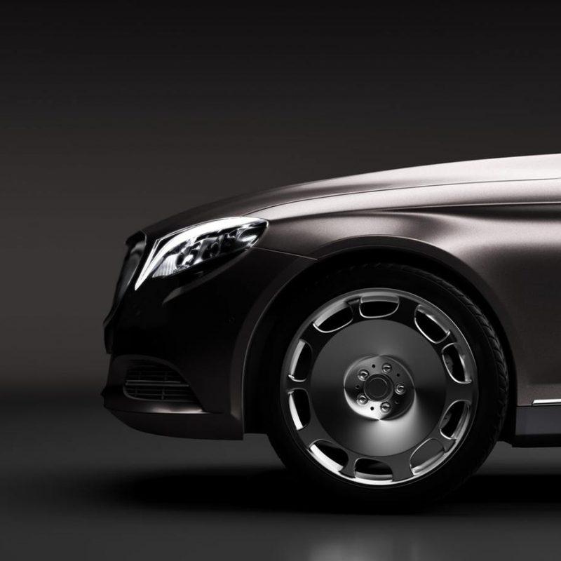Limo car, a premium luxury vehicle on black. Vip transport,