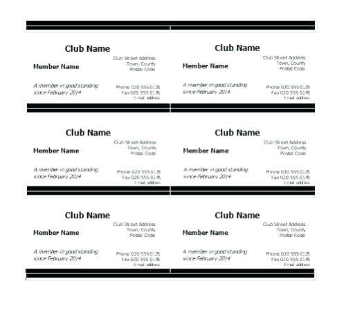 membership card template word club form on church free templates
