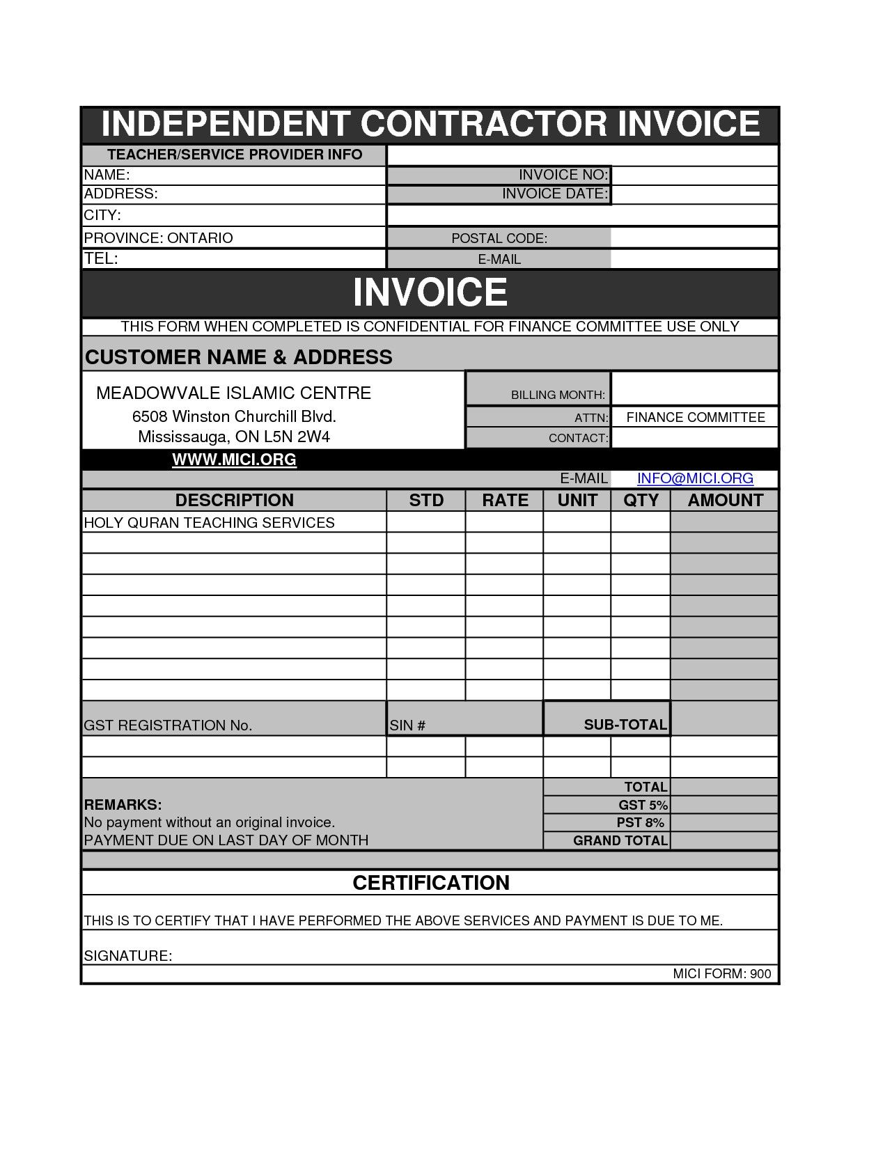 Independent Contractor Invoice Template Fresh Plumbing Invoice Awesome Consultant Billing Template with Od