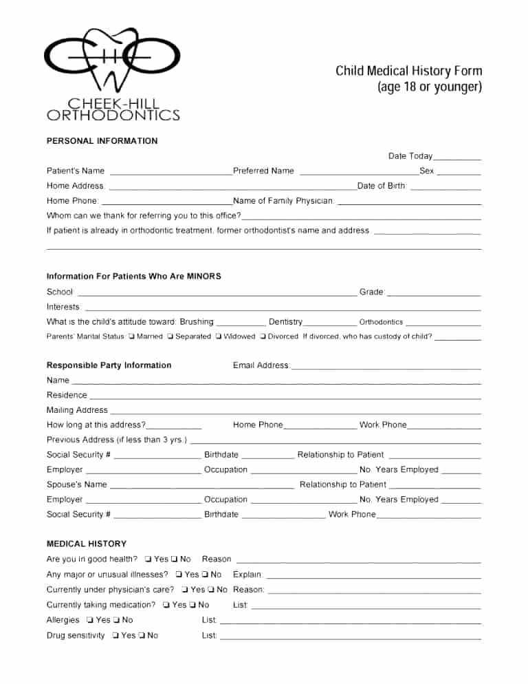 medical history forms word printable templates form internal medicine daily progress note template nicu