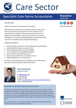 Care Home Summer 2016 sector newsletter