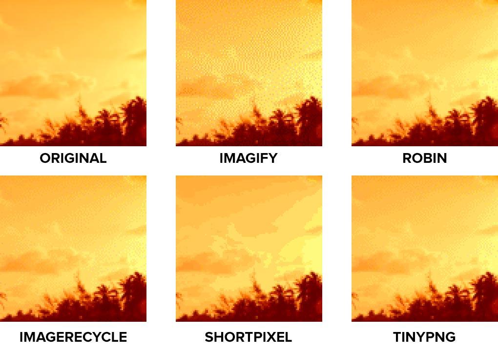 Comparativa de calidad de JPG con textura compleja