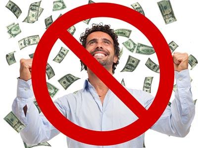 Dinero lloviendo sobre un hombre, todo con un símbolo de NO