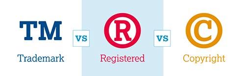 Muestra los logotipos de TM (trademark), R (registered) y C (copyright), las marcas registradas están fuera del alcance de la GPL