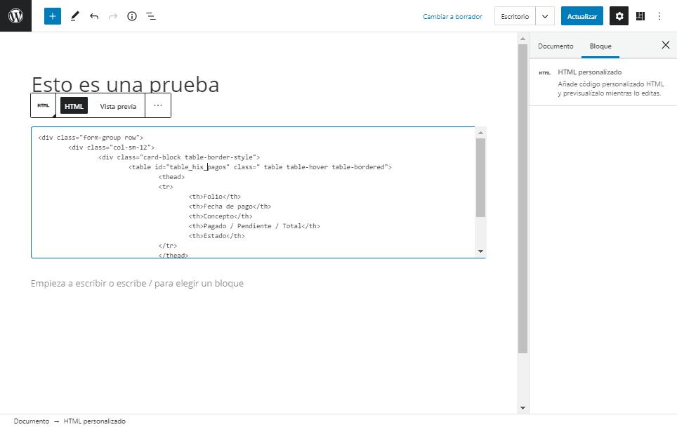 Muestra el bloque HTML personalizado