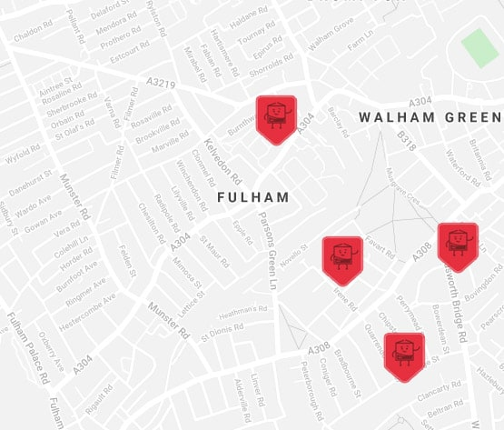 fullham self storage map