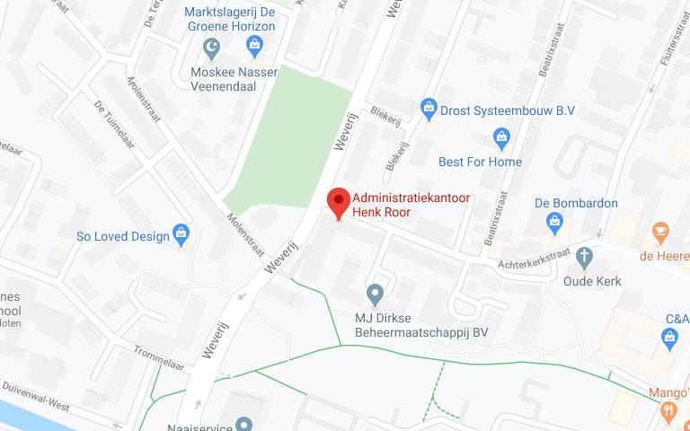 Een kaart met de locatie van Administratiekantoor Henk Roor