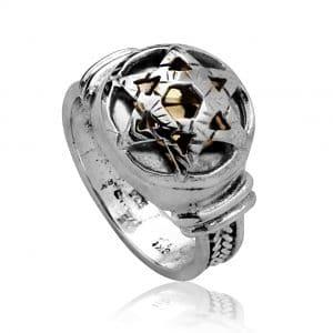 Silver Kabbalah Star of David Ring  5 Elements