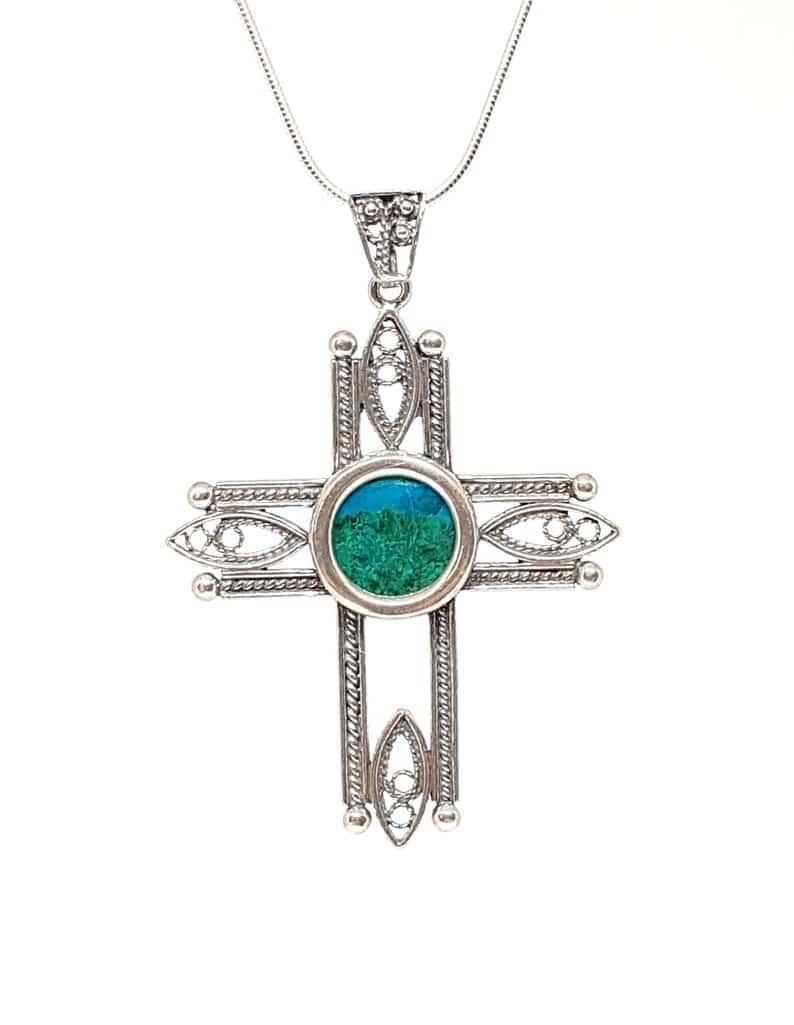 Filigree 925 Silver Eilat Stone Cross Pendant Necklace, 925 Silver Cross, Filigree Cross King solomon stone