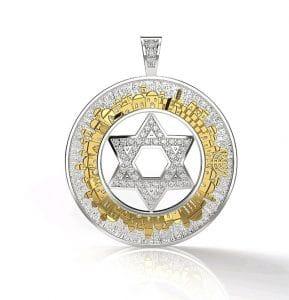 14k Gold 3D Jerusalem Pendant Star of david Gold Pendant Diamonds Pendant