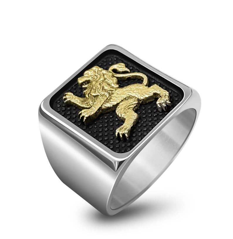 Anillo de León de Judá de Plata 925 y Oro de 9k, Anillo de Hombre