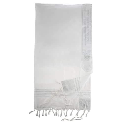 Talit Acrílico - Diseño de Rayas Blancas y Plateadas