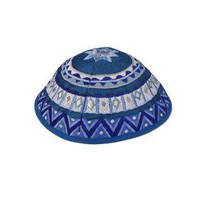 Embroidered Silk Kippah - Geometrical Blue