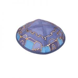 Painted Silk Kippah - Jerusalem Blue