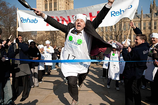 Hudgell Solicitors are delighted to raise awareness of Rehab through sponsorship of the 2016 Parliamentary Pancake Race